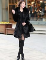 100% Real Genuine Rabbit Fur Long Coat With Fox Fur Collar Jacket Coat Outwear