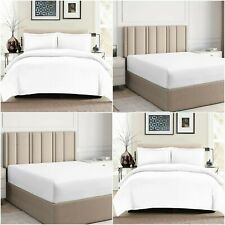 200TC DUVET COVER FITTED SHEET 100% EGYPTIAN COTTON DOUBLE KING BEDDING WHITE