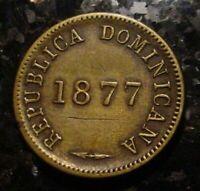 SCARCE 1877 1 CENTAVO DOMINICAN REPUBLIC