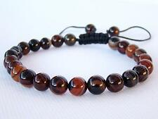 Men's Shamballa bracelet all 8mm natural gemstone lace agate Black Brown beads