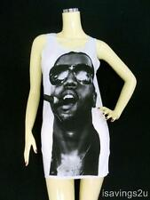 KANYE WEST Tank Top, HIP HOP Rap R&B Icon White Cotton SINGLET, T-shirt Mini NEW