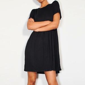 Womens Black Smock Dress Jersey Ladies Beach Casual Stretch Summer Mini UK4-12