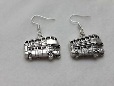 """Handmade London bus pair of earrings.  Routemaster.  (""""antique silver"""")"""