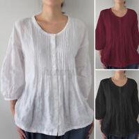 ZANZEA Womens 3/4 Sleeve O Neck Pleated Front Top Tee T Shirt Basic Tunic Blouse
