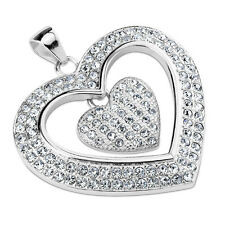 Cubic Zirconia Heart Pendant with Dangling Inner Heart Stainless Steel