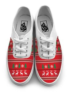 Ugly Christmas Sweater Authentic Laced Vans Brand Shoes