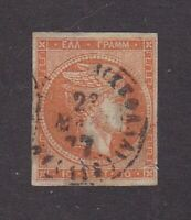 Greece stamp #19, used, numbers on back, 1864,  see notes, SCV $47.50