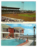 CLEARWATER Florida Vintage Lot of 2 Chrome Postcards Russell Field - Dunes Motel