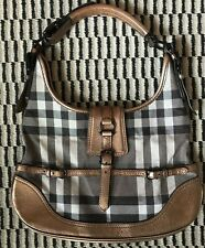 Burberry Rare Check Shimmer Metallic Leather Accented Hobo Bag Purse