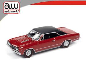 AUTO WORLD 1:64 1967 RED CHEVROLET CHEVELLE SS DIECAST MODEL CAR AWSP051 A