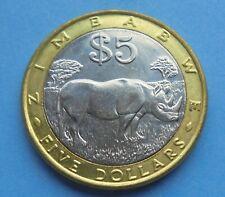 Zimbabwe, 5 Dollars 2001, Bi-Metallic, Rhino, Great Condition.