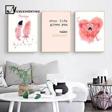 Watercolor Flamingo Feather Canvas Art Poster Motivational Prints Home Decor