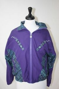 VTG Retro Kaelin Windbreaker Jacket Matching T-Shirt Set Ski Purple Aztec Small