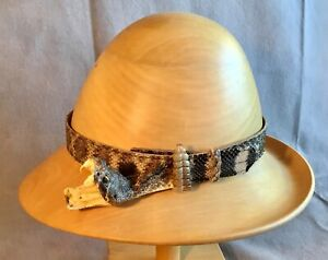 WESTERN DIAMONDBACK RATTLESNAKE HAT BAND WITH LARGE HEAD, FANGS & RATTLE