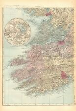 1892 LARGE VICTORIAN  MAP- IRELAND SOUTH WEST, KILLARNEY,CORK,TRALEE,LIMERICK