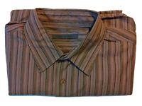 John Varvatos Brown Striped Long Sleeve Button Up Dress Shirt Men's Size Medium