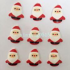 Hot DIY 10pcs Resin hand painting Santa Claus Flatback Wedding Christmas buttons
