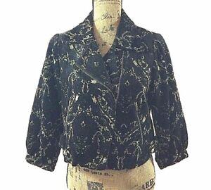 FREE PEOPLE 8 Med M Black Velour Tapestry Crop Moto Jacket Blazer Pocket Trendy