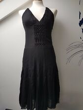 UK8 KAREN MILLEN Sexy Silk Black Cross Back Beaded Fashion Floaty Party Dress