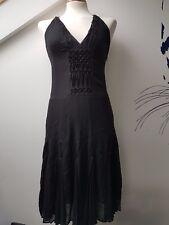 UK8 KAREN MILLEN Sexy Silk Black Cross Back Beaded Fashion Floaty Party Dress