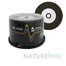 50 x Xlayer Noir Bas Vinyle CD-R disques vierges Blancs Imprimables 48x 700MB