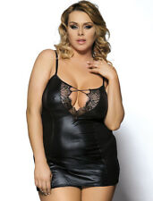 Sexy femme noires en cuir synthétique Babydoll Lingerie NightWear Taille 5XL/20-22 UK