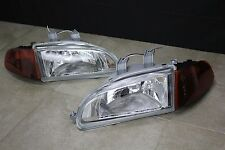 Honda Civic EG EJ JDM Chrome Headlights + Smoked Amber Corners + SiR City Light
