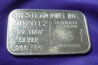 Vtg 1976 Montreal Canada Olympics Western Mint 1 oz .999 Silver Art Bar (101)