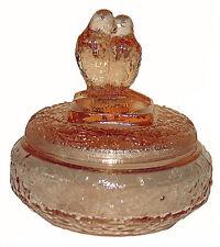Lovebirds Transparent Pink Depression Glass Powder Jar - RARE