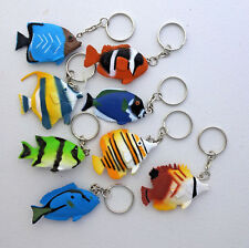 "2"" tropical fish split key ring 1"" loop charms set of 8 green blue brown yellow"