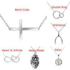 925 Sterling Silver Cross/Heart/Flower/Wishbone Pendant Charm Necklace Chain 18""
