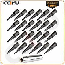 24 Pc Set Spike Metall Lug Nuts M14x1.5 Black Ford Fits 15-16 Expedition+1 Key