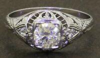 Antique 19K WG .95CTW diamond filigree wedding/engagement ring w/ .85CT ctr.