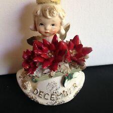 Vtg  Lefton Christmas December Birthday Poinsettia Angel Girl  Figurine
