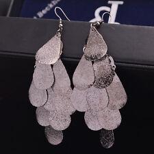 Elegant Women Fashion Long Tassel Metal Ear Stud Dangle Hook Earrings Jewelry