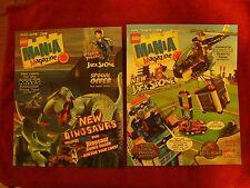 2 Lego Mania Magazines 2001 Steven Spielberg Dinosaurs Bionicle Matanui Railroad
