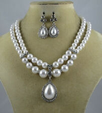Two Line White Pearl Necklace With Teardrop Pearl Pendant and Matching Earrings