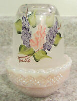 Mosser Glass Crown Tuscan Carnival/Crystal Handpainted Lilacs Fairy Light, new