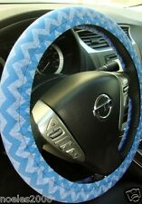 Handmade Steering Wheel Cover Blue Chevron Zig Zag