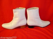 NEW Elvis WHITE 100% Leather Zip-Up Boots (Tribute Artist Costume) Jumpsuit Era