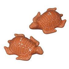 Andrea by Sadek Coral Color Sea Turtle Ceramic Figural Salt Pepper Shakers NIB