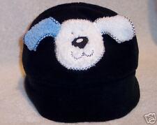 """Soft Blue w White-Blue """"Dog"""" Hat w Ear Muff"""