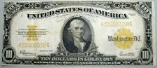 1922 $10 Gold Certificate Large Size Note Certificate STUNNING Condition Ten