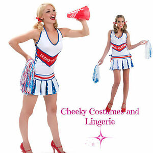 Cheerleader Playboy Costume American Theme USA Size 12 Sport Pom Poms