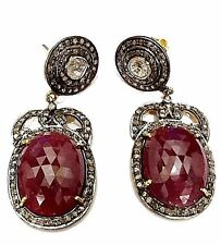 Genuine Ruby & Natural white Topaz earring in 925 sterling silver for wedding