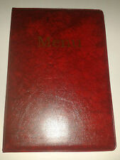 A5 MENU COVER/FOLDER IN RED LEATHER LOOK PVC-WITH POCKETS ON PAGE 2 + 3 only!