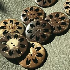 J634 Lot 10 44L 28mm Real Coconut Shell Ancient Pattern Button Natural Craft DIY