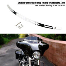 Chrome Slotted Batwing Fairing Windshield Trim For Harley Touring FLHT 2014-up