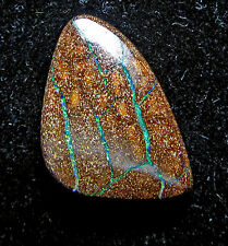 boulder opal, 16 carats, 19 x 15 x 6 mm, bright green fire veins