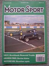 Motor Sport (Nov 1989) Alfa 164, Jaguar XJ6, Sunbeam Alpine, Spain, Portugal GPs